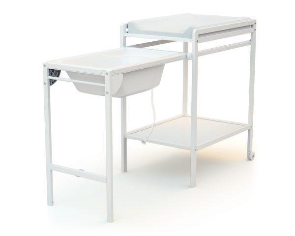 table a langer avec baignoire essentiel blanc