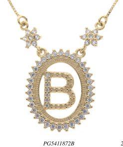 Colar luxo letra B com zircônia branca G em banho de ouro 18k-0
