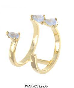 Anel luxo aberto gotas de zircônia roxa leitosa em banho de ouro 18k-0