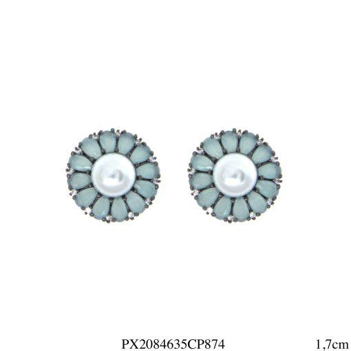Brinco luxo Flor com pétalas de zircônia azul céu e pérola em banho de ródio negro-4613