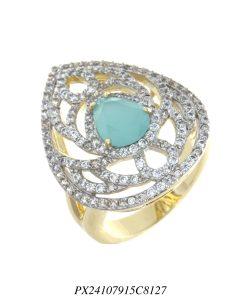 Anel luxo gota vazada de zircônia branca e azul céu em banho de ouro 18k-0