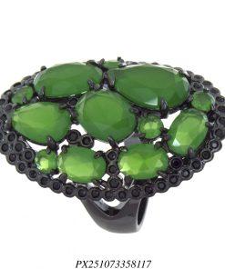 Anel luxo concha de zircônia negra e verde em banho de ródio negro-0