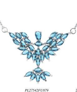 Colar luxo delicado Espírito Santo P com zircônia azul fusion em banho de ródio-0