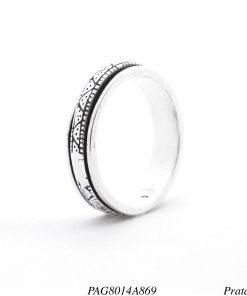 Anel prata 925 giratório Slim detalhado-0