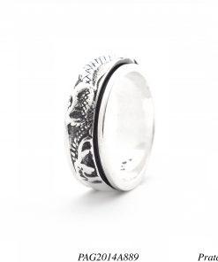 Anel prata 925 giratório com Dragões -0