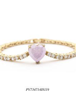 Pulseira riviera luxo com pingente de coração de zircônia rosa ice e branca em banho de ouro 18k-0