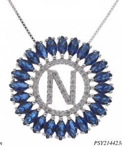 Colar luxo mandala com letra N de zircônia azul em banho de ródio-0