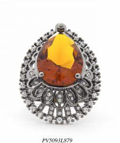 Anel luxo gota de cristal laranja detalhado com zircônia branca em banho de ródio negro-0