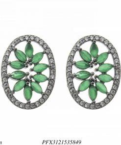 Brinco luxo oval com pétalas de zircônia verde esmeralda e branca em banho de ródio negro-0