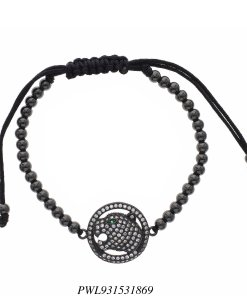 Pulseira Shambala aço com pingente Panthère de Cartier em banho de ródio negro-0