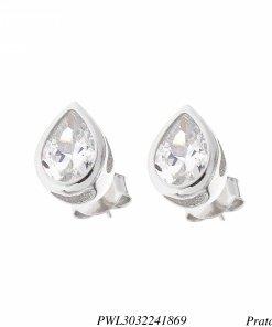 Brinco prata 925 luxo gota detalhada com zircônia branca G-0