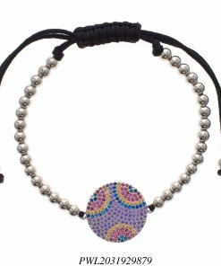 Pulseira luxo Shambala de contas de aço com pingente com zircônia colorida-0