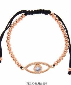 Pulseira luxo Shambala de contas de aço com olho de zircônia branca em banho de ouro rosé-0