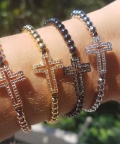 Pulseira luxo Shambala de contas de aço com crucifixo de zircônia branca-0