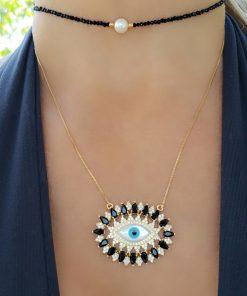 Colar super luxo com zircônia negra e Olho Grego de madrepérola em banho de ouro 18k
