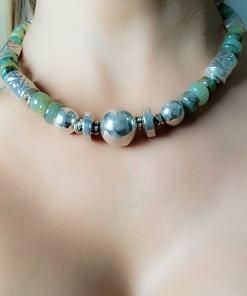 Colar prata 925 40cm com Jade Verde e bolas