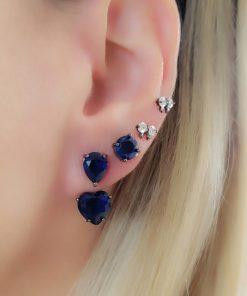 Brinco Ear Jacket gota e coração de zircônia azul bic em banho de ródio negro