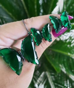Conjunto Borboleta Brinco e Colar com zircônia Verde e Negra em banho de ródio negro