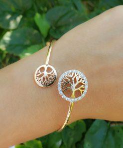 Bracelete Árvore da Vida com zircônia branca em banho de ouro 18k