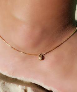 Tornozeleira 23cm com Coração P em banho de ouro 18k