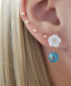 Brinco Ear Jacket com Flor de madrepérola e jade azul em banho de ouro 18k