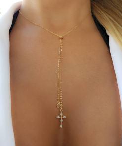 Colar 55cm Gravatinha com Cruz de zircônia branca e ponto de luz em banho de ouro 18k