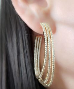 Argola 5cm aberta com aros de micro zircônia branca em banho de ouro 18k