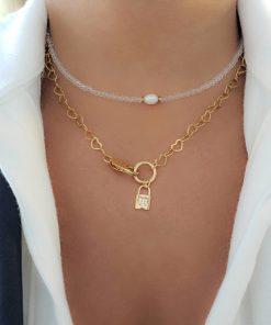 Colar Corações com Cadeado e coração de micro zircônia branca em banho de ouro 18k