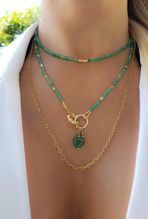 Colar 50cm com cristal de rocha verde esmeralda e Mandala coração de Jade Verde Esmeralda em banho de ouro 18k