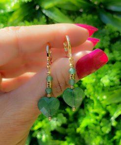 Argola com Cristal de Rocha e coração de Jade Verde Esmeralda em banho de ouro 18k