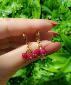 Argola Cacho com murano rosa pink em banho de ouro 18k
