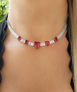 Colar 40cm Riviera com zircônia branca e Coração Rosa Pink em banho de ródio branco