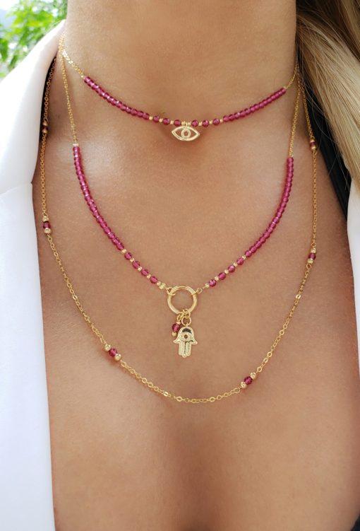Colar 50cm com Cristal de Rocha Rosa Pink e bolas em banho de ouro 18k