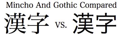 Mincho vs Gothic