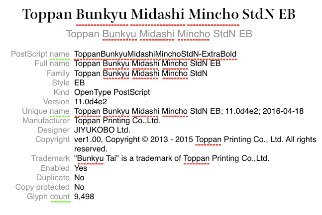 Toppan Bunkyu Midashi Mincho StdN EB 1