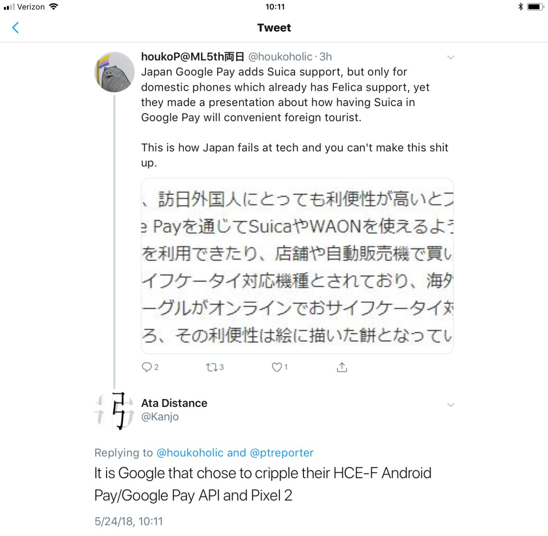 Google Pay users outside of Japan should blame Google