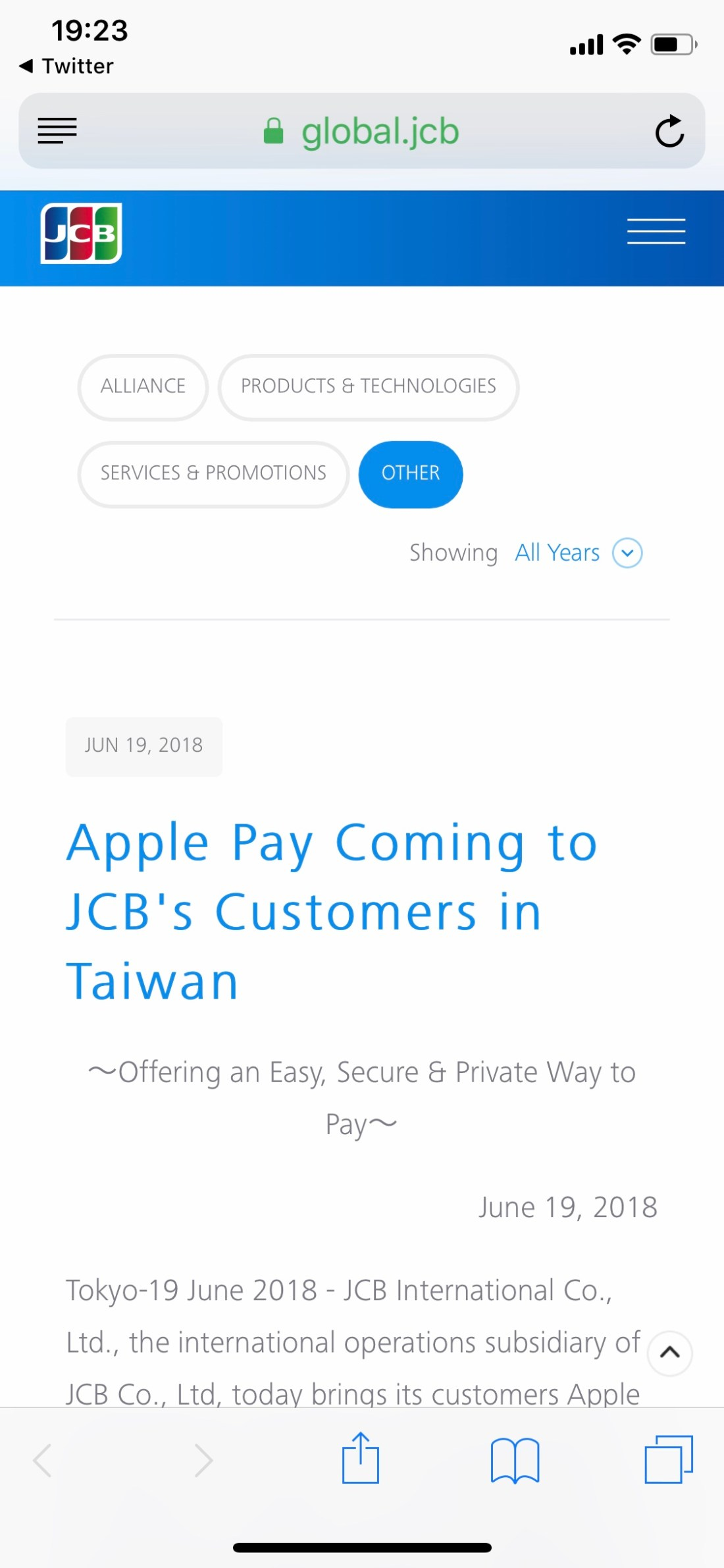 JCB Apple Pay in Taiwan
