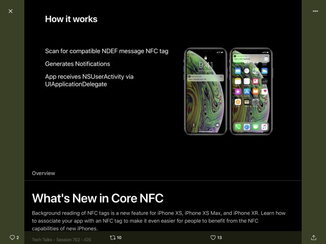 A12 Bionic powers the new Core NFC Background Tag Reading