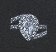 Pear-shaped diamond ring rendering by Joana Miranda