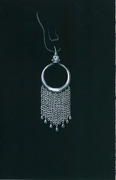 Chain Maille Chandelier Earring Rendering by Joana Miranda