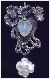 Female Face Pendant in glass, silver, enamel, gold and baroque pearl by Rene Lalique