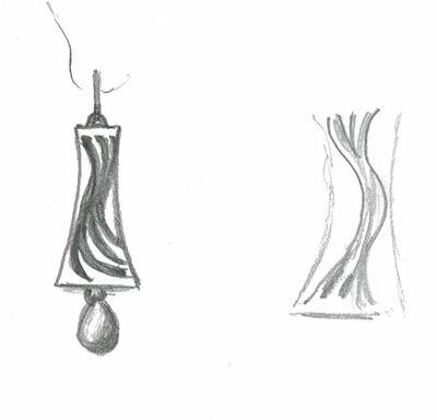 Preliminary pencil sketch for earrings for Piano Arts Gala by Joana Miranda