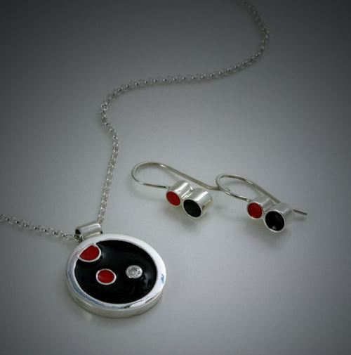 """Dots"" Resin and Argentium Sterling Silver Jewelry by Joana Miranda"