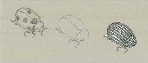 Pencil and Gouache Ladybug Brooch Sketch by Joana Miranda
