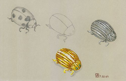 18K Yellow Gold Ladybug Brooch with Channel-Set Diamonds, Rubies and Cabuchon Emeralds by Joana Miranda