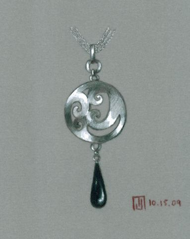 Colored Pencil and Gouache Silver and Black Onyx Pendant Rendering by Joana Miranda