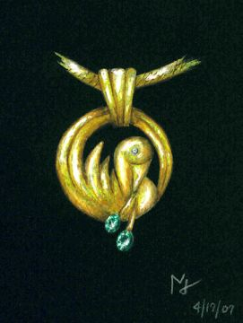 Watercolor and Gouache Gold and Emerald Bird Pendant Rendering by Joana Miranda