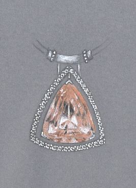 Colored Pencil and Gouache Pendant Rendering by Joana Miranda Featuring Designer-Cut Morganite
