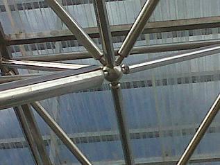 struktur, kerangka, space frame, boll joint, conset, hexagone