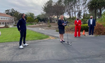 Newsom Visits Cuesta College Vaccination Clinic Hours After County Moves to Red